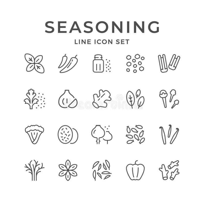 Set line icons of seasoning. Isolated on white. Vector illustration vector illustration