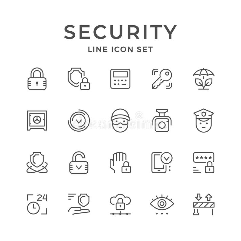 Set line icons of security vector illustration