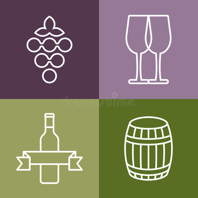 Set of line icons set. Wine bottle, grape and glass vector logo royalty free illustration