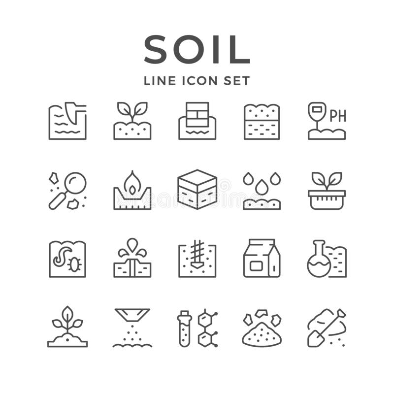 Set line icons of soil royalty free illustration