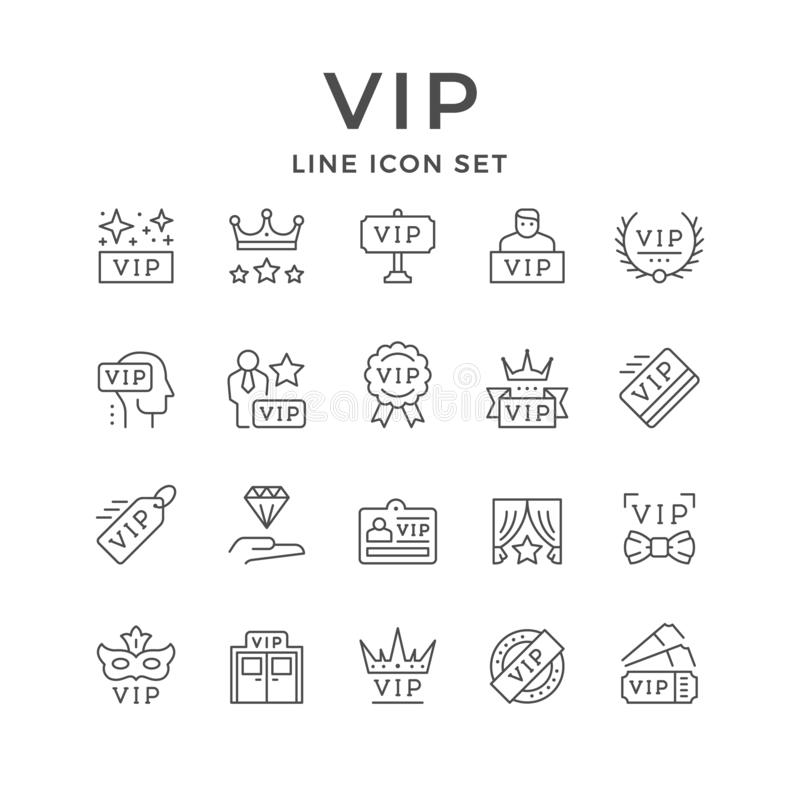 Set line icons of VIP. Isolated on white. Very important person, pass card, royal sign, celebrity symbol, privilege entrance, anonymous guest, special member vector illustration
