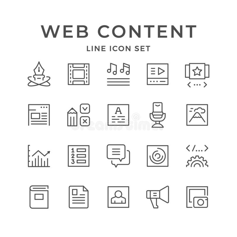 Set line icons of web content. Isolated on white. Vector illustration royalty free illustration