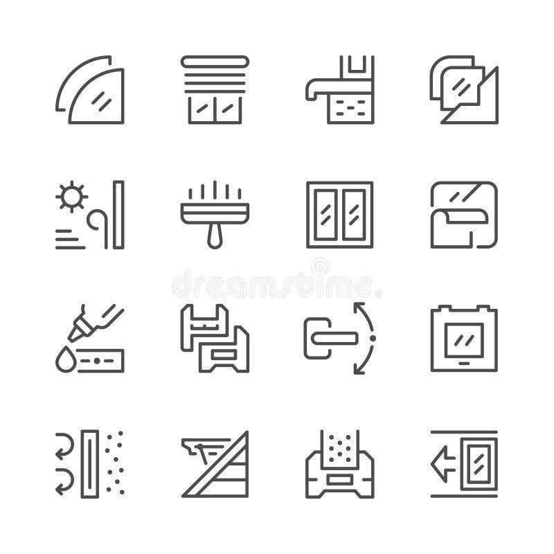 Set line icons of window vector illustration
