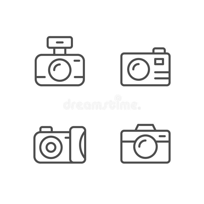 Set line outline icons of camera vector illustration