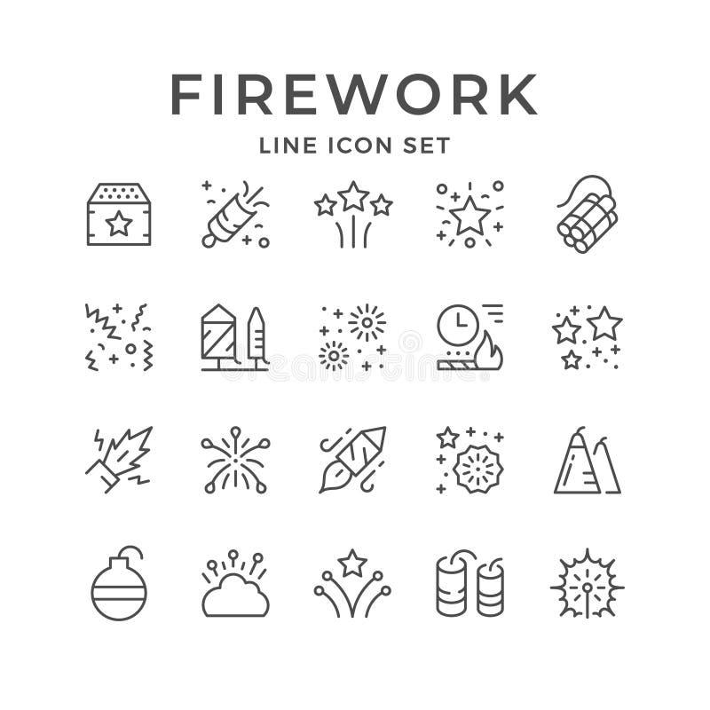 Set line outline icons of firework vector illustration