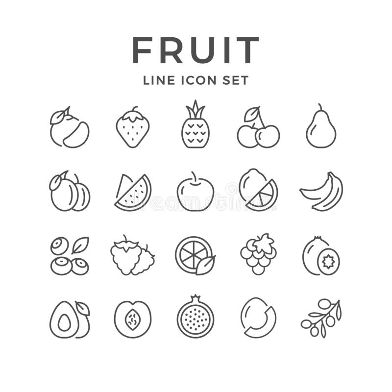 Set line outline icons of fruit royalty free illustration