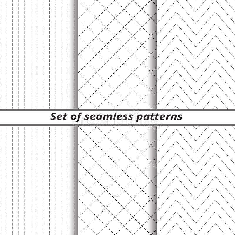 Set of line seamless backgrounds with dotted line vector illustration