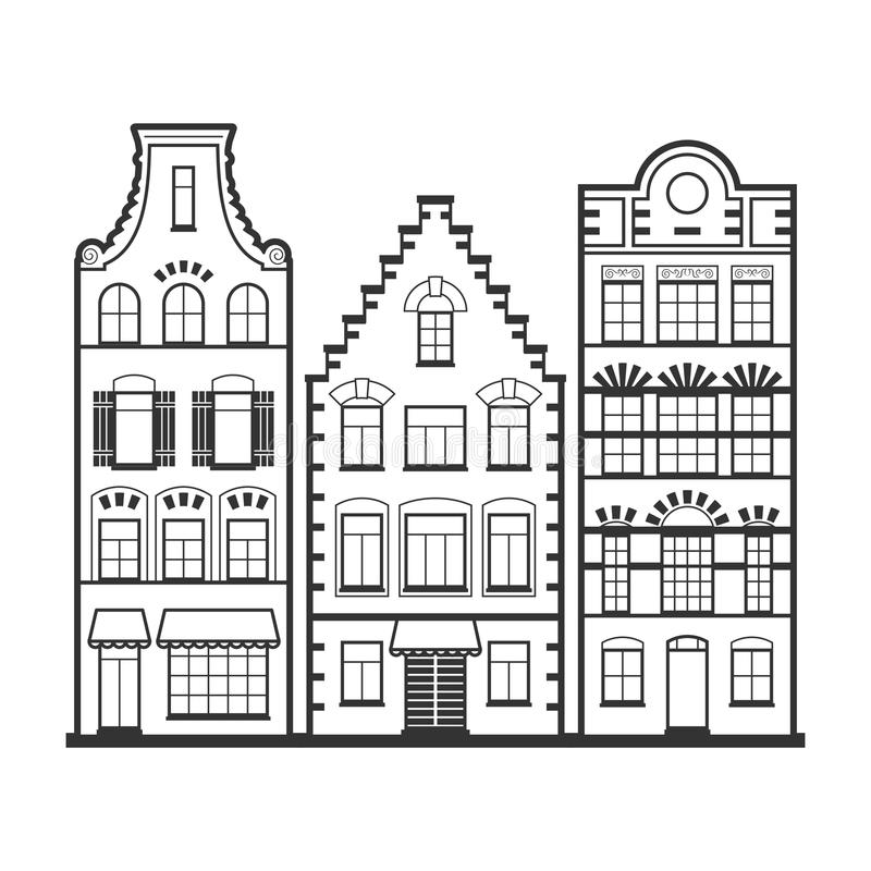 Set of 3 line style Amsterdam old houses facades. Set of 3 Amsterdam old houses facades. Traditional architecture of Netherlands. Line style black and white vector illustration
