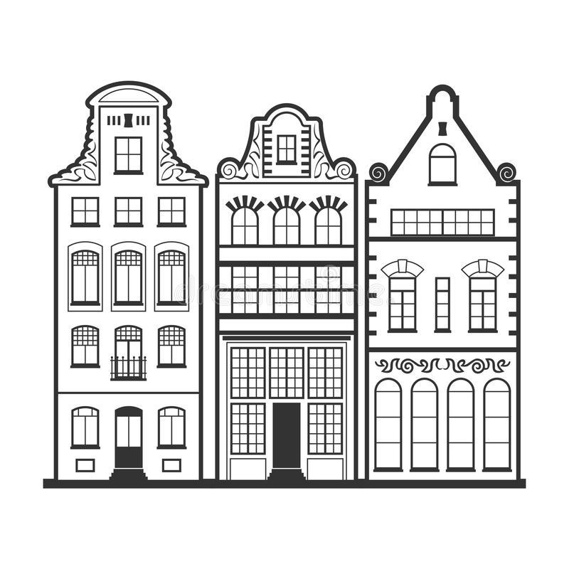 Set of 3 line style Amsterdam old houses facades. Set of 3 Amsterdam old houses facades. Traditional architecture of Netherlands. Line style black and white stock illustration