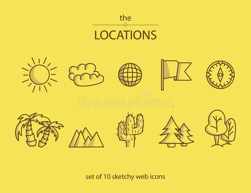 Set of 10 line web icons with symbols of different locations. Such as a beach, forest, desert etc vector illustration