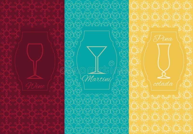 Set linear alcoholic ornament card vector illustration