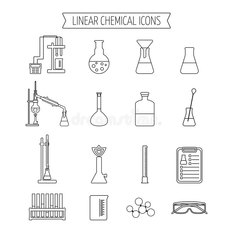 Set of linear chemical icons. Flat design. Isolated. Vector stock illustration