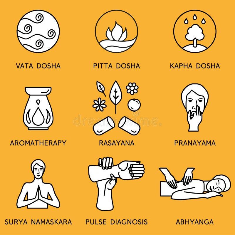 Set linear icons for ayurveda design. Ayurveda vector illustration. Ayurveda logos in outline style. Design elements for ayurveda center, yoga studio, spa vector illustration