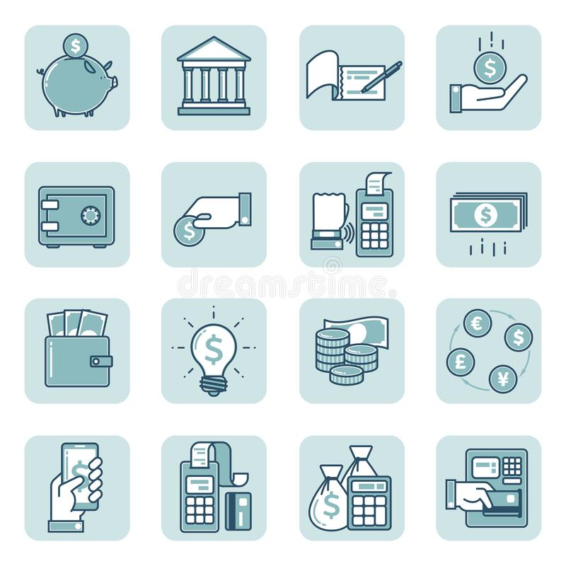Set of linear icons on Finance and banking stock illustration