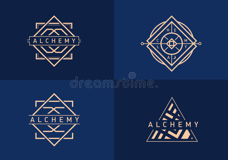 Set linear logo on alchemy royalty free stock images