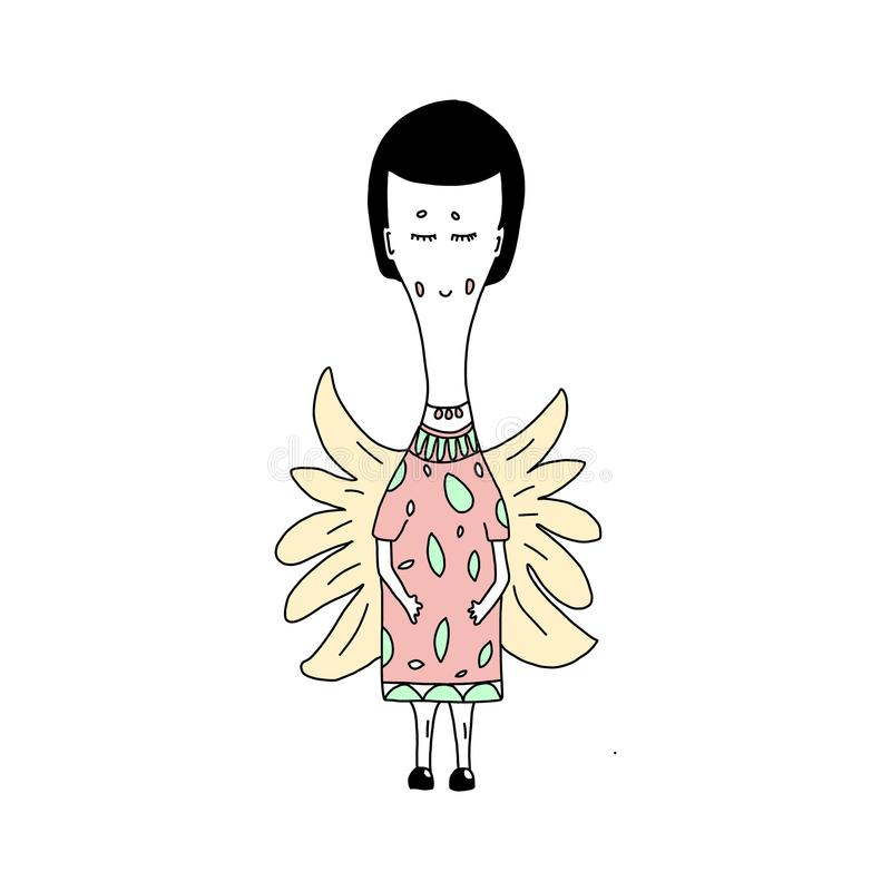Cute cartoon angel. in a pink dress with green leaves is Perfect for children`s t-shirts or cards with an invitation to stock illustration