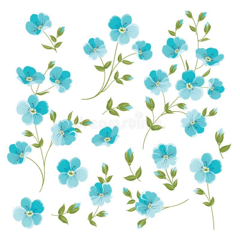 Set of Linen flowers elements. vector illustration