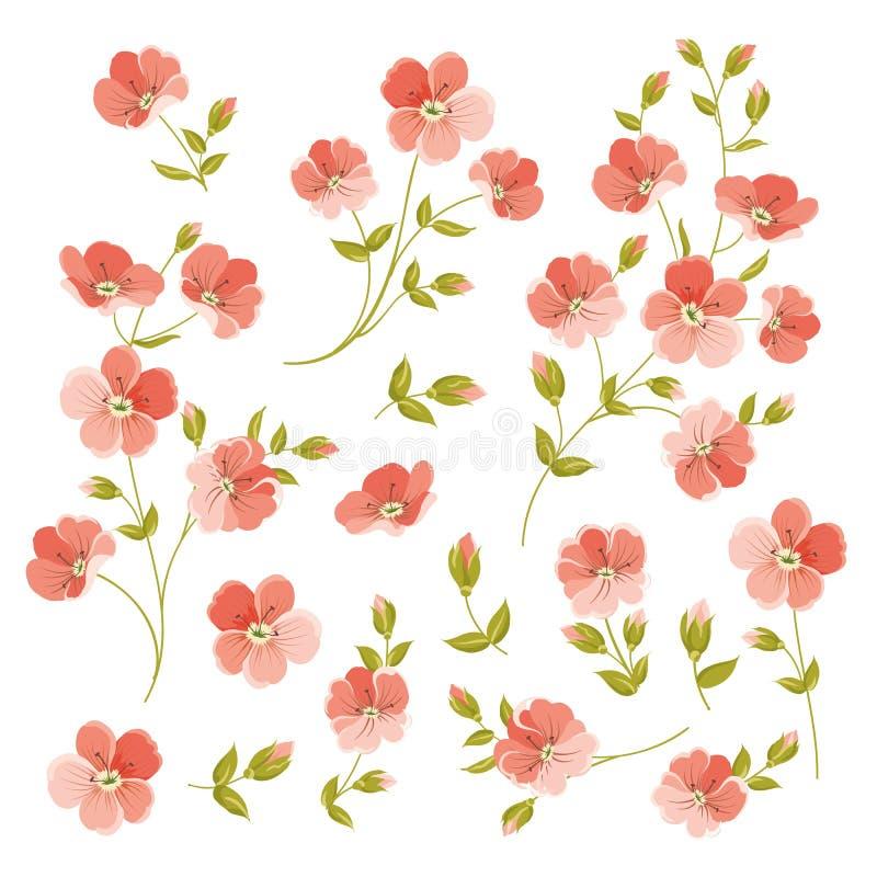Set of Linen flowers elements. royalty free illustration