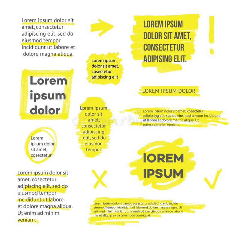 A set of lines or strokes and shapes, marks and spots, underlines and frames from the yellow marker or highlighter. stock illustration