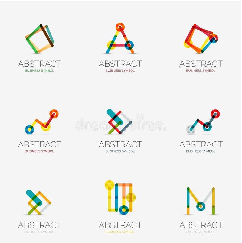 Set liniowe abstrakcjonistyczne geometrical ikony i logowie ilustracji