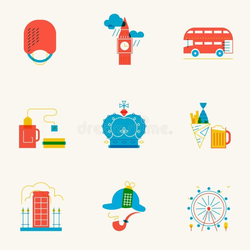 Set liniowe Londyńskie ikony ilustracji