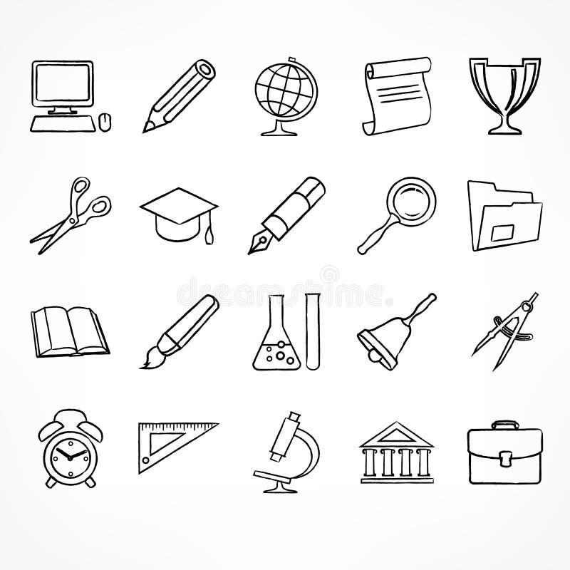 Set liniowe szkolne ikony na bielu ilustracja wektor