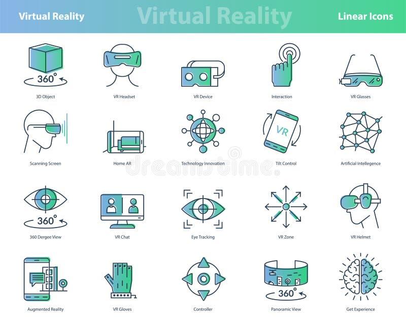 Set liniowej rzeczywistości wirtualnej barwione ikony ilustracja wektor