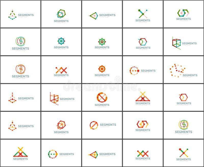 Set liniowi abstrakcjonistyczni logowie Wiruje, okrąża, nieskończoności pętla i inni pojęcia Logotypu gatunku szablony ilustracja wektor