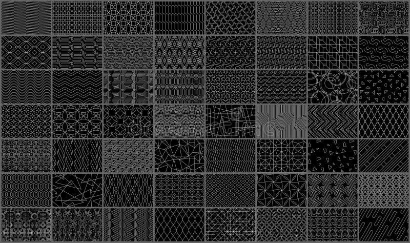 Set liniowy bezszwowy geometryczny wzór royalty ilustracja