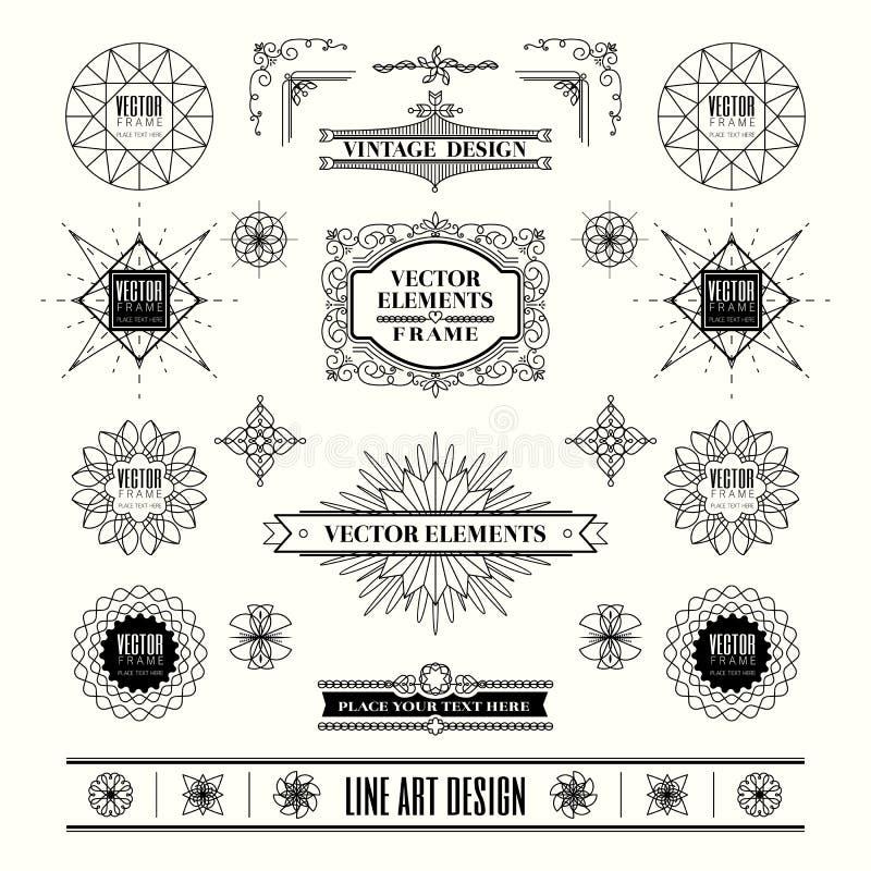 Set liniowy kreskowy art deco rocznika projekta retro rama ilustracji