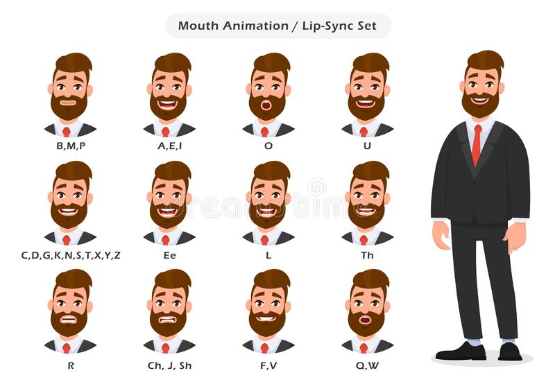 Set of lip sync collection for animation of the talking businessman. Business man`s mouth and lips sync for sound pronunciation. Learning English alphabet royalty free illustration