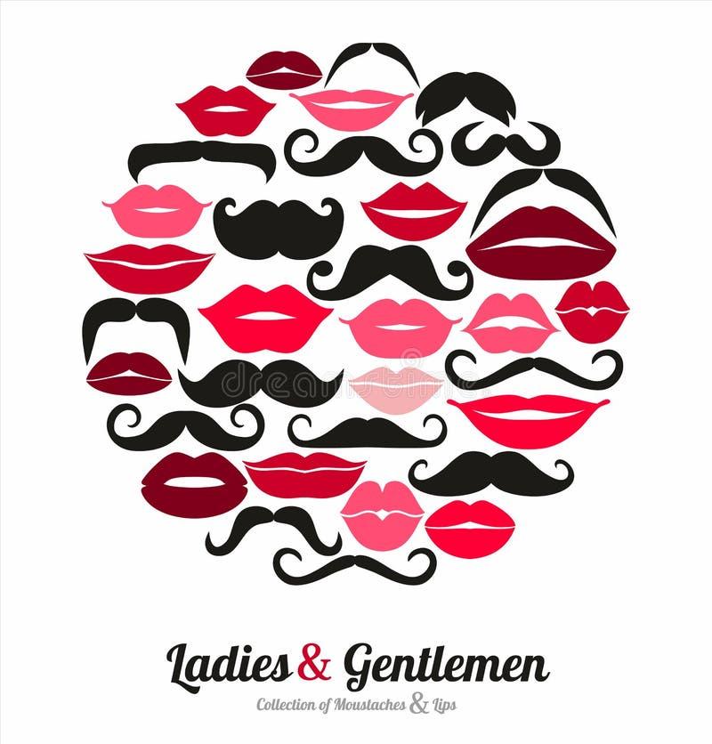 Set of lips. Flat icons. royalty free illustration