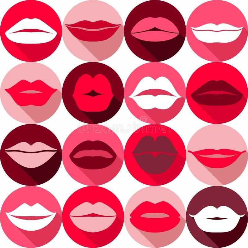 Set of lips. Flat icons. stock illustration