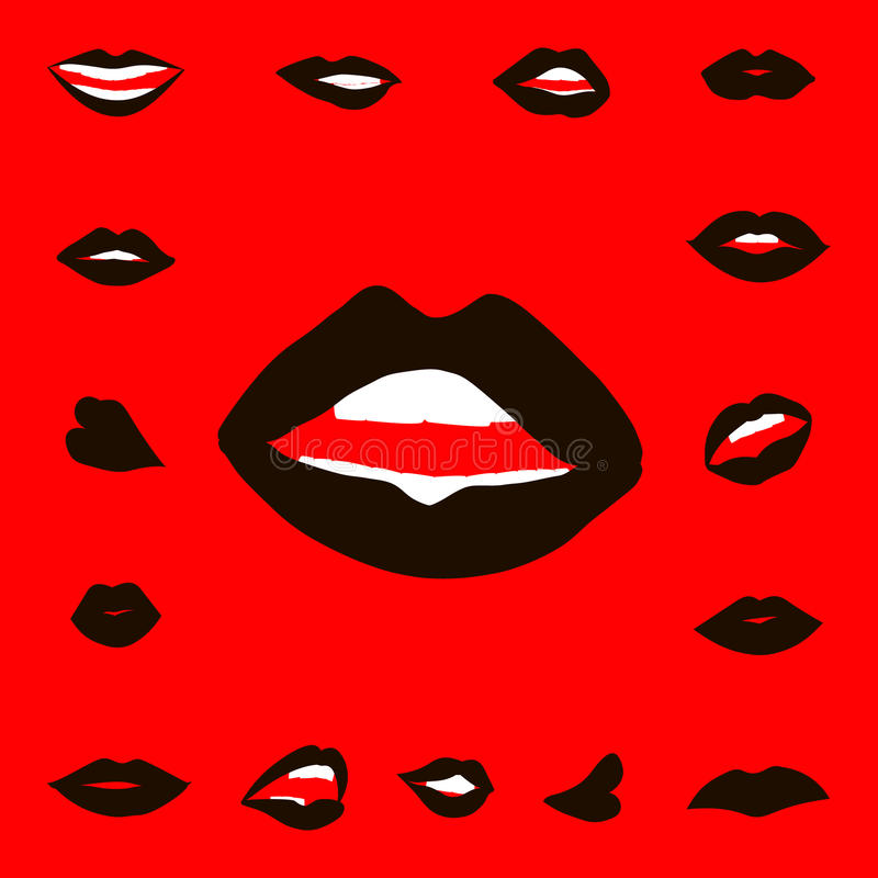 Set lips girl silhouette. Isolated on red background. Icons lips stock illustration