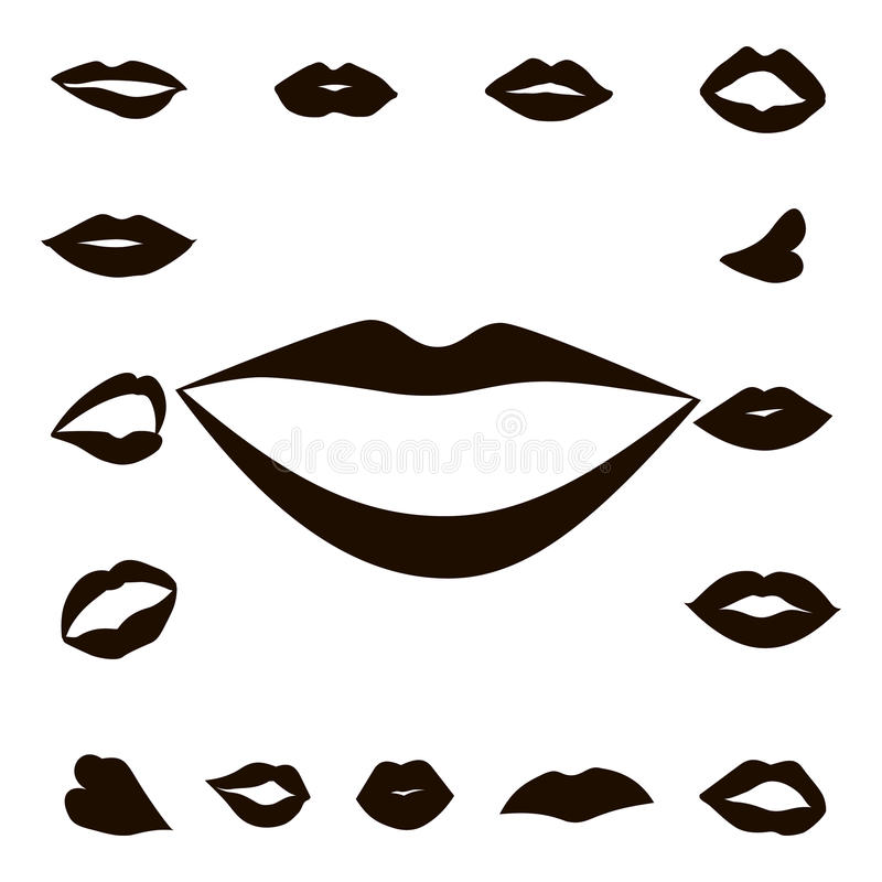 Set lips girl silhouette. Isolated on white background. Icons lips royalty free illustration