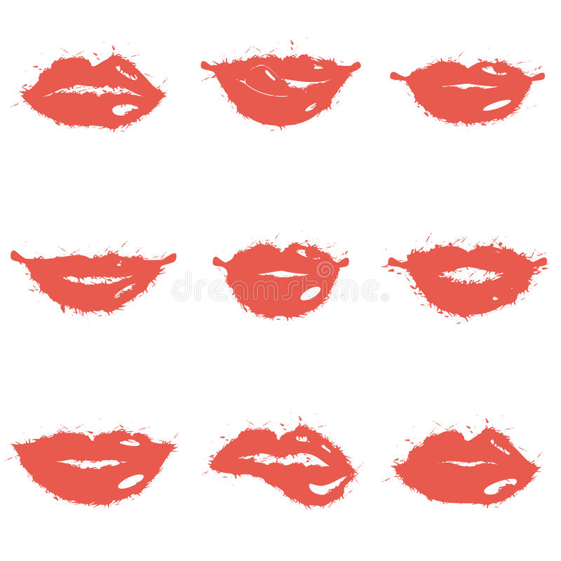 Set of lips. Set of grunge female girls lips icons vector illustration vector illustration