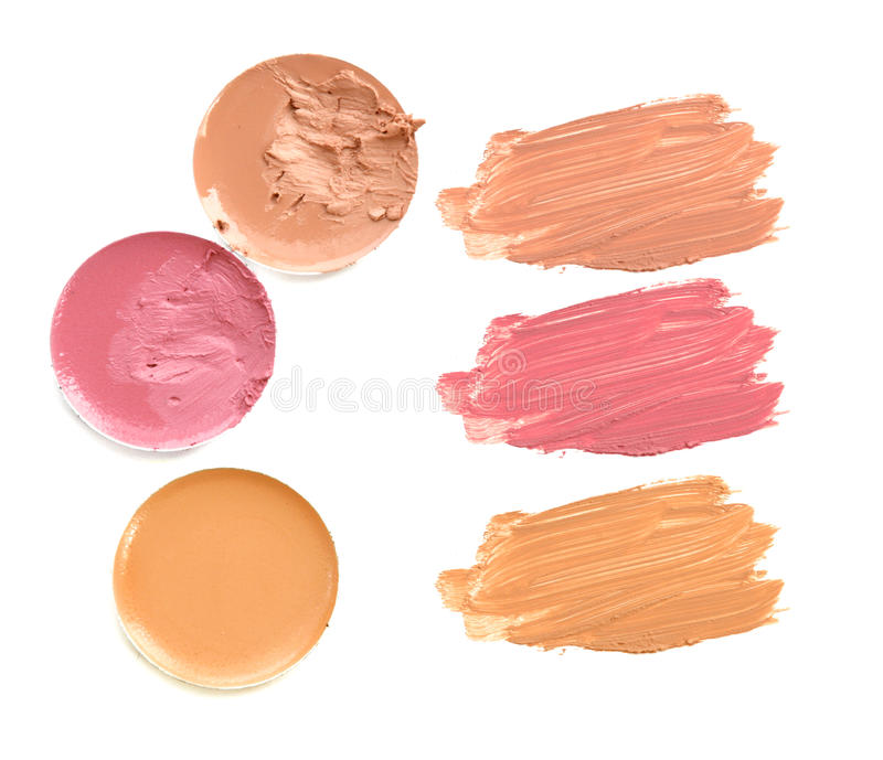 Set of lipstick swatches isolated on white background. Set of lipstick swatches isolated on white background stock image