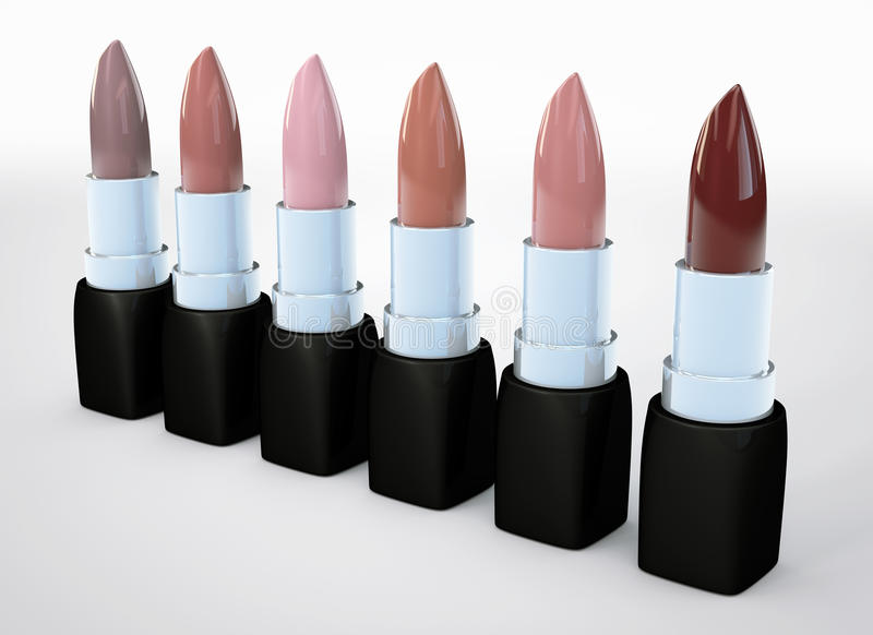 Set of lipsticks nude colors. Beige lipstick in a row isolated on white. 3d illustration of lipstick natural color. royalty free illustration