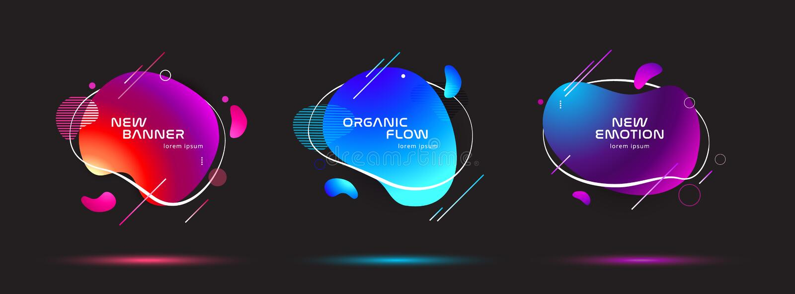 Set of liquid color abstract geometric shapes. Fluid gradient elements for minimal banner, logo, social post. Futuristic royalty free illustration