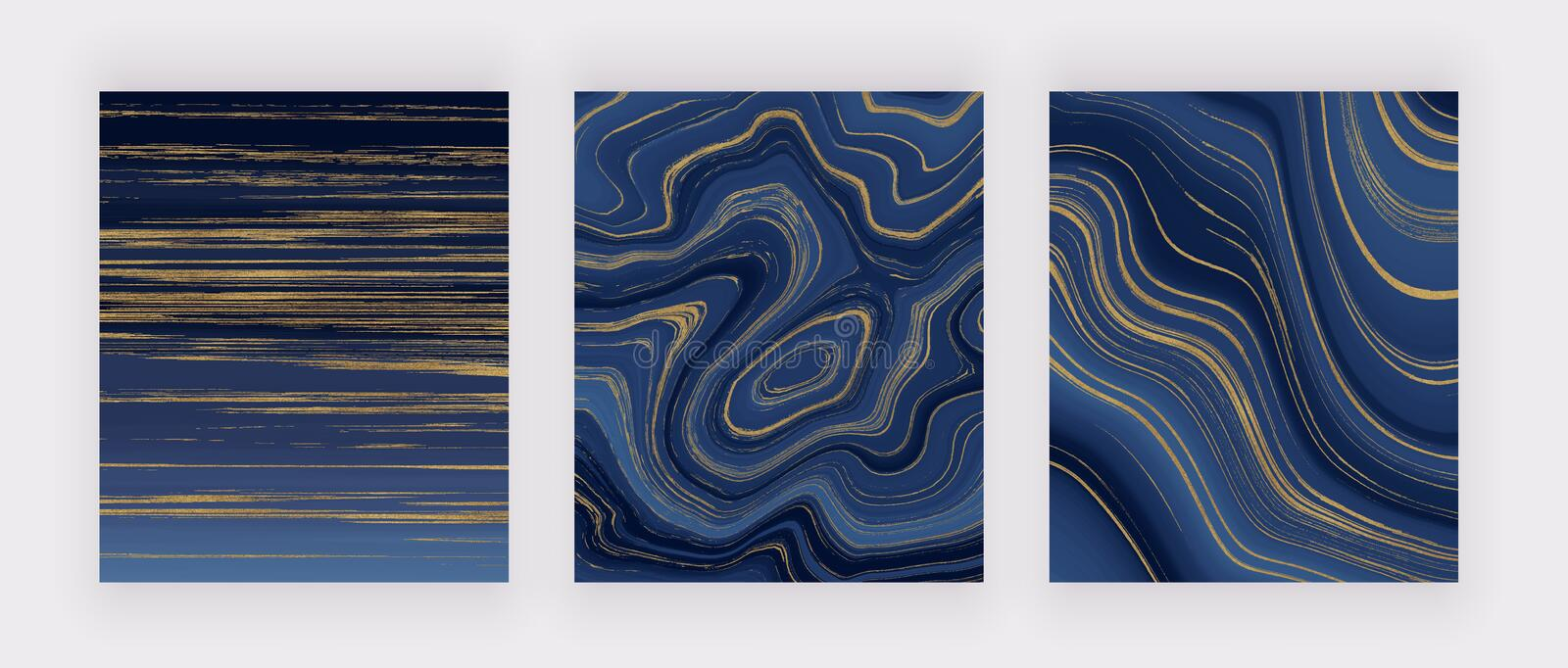 Set liquid marble texture. Blue and golden glitter ink painting abstract pattern. Trendy backgrounds for wallpaper, flyer, poster, royalty free stock images
