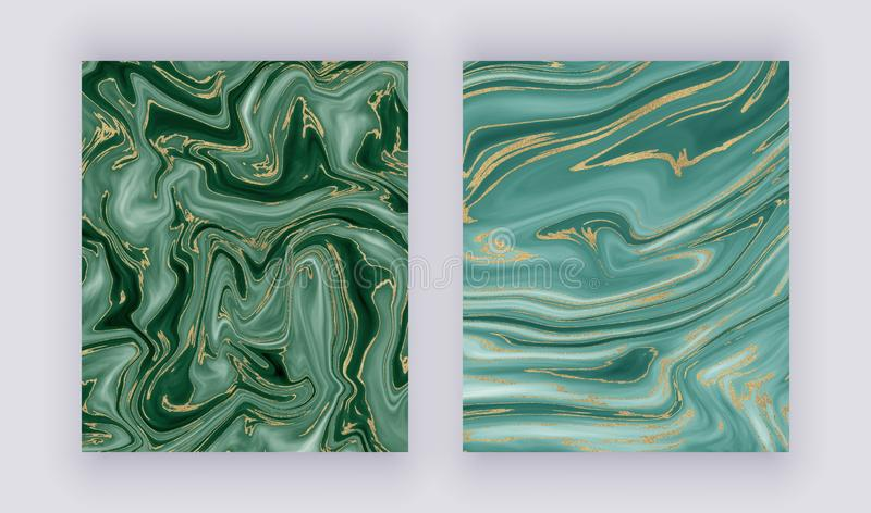 Set liquid marble texture. Green and golden glitter ink painting abstract pattern. Trendy backgrounds for wallpaper, flyer, poster stock image