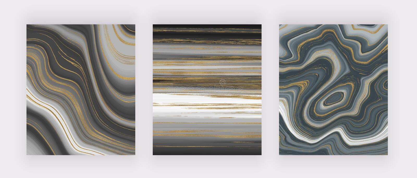 Set liquid marble texture. Grey and golden glitter ink painting abstract pattern. Trendy backgrounds for wallpaper, flyer, poster,. Card, invitations. Modern stock illustration