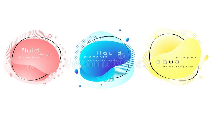 Set of liquid pastel color abstract geometric shapes. royalty free illustration