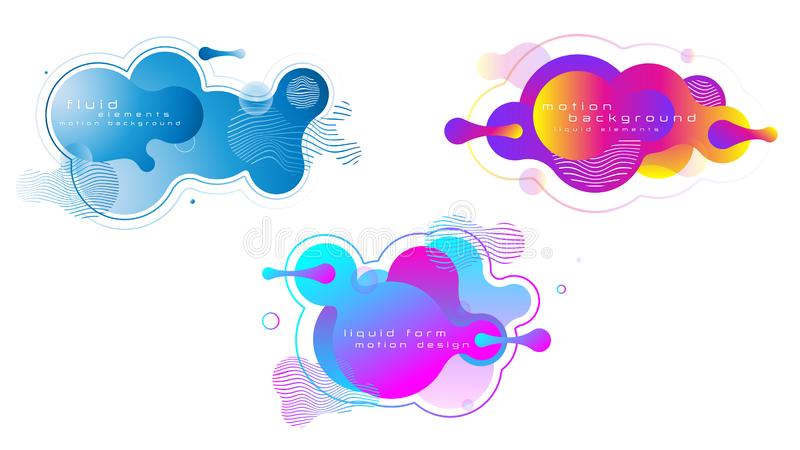 Set of liquid vivid color abstract geometric shapes. stock illustration