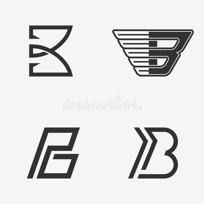Set listowy b znak, logo, ikona projekta szablonu elementy royalty ilustracja