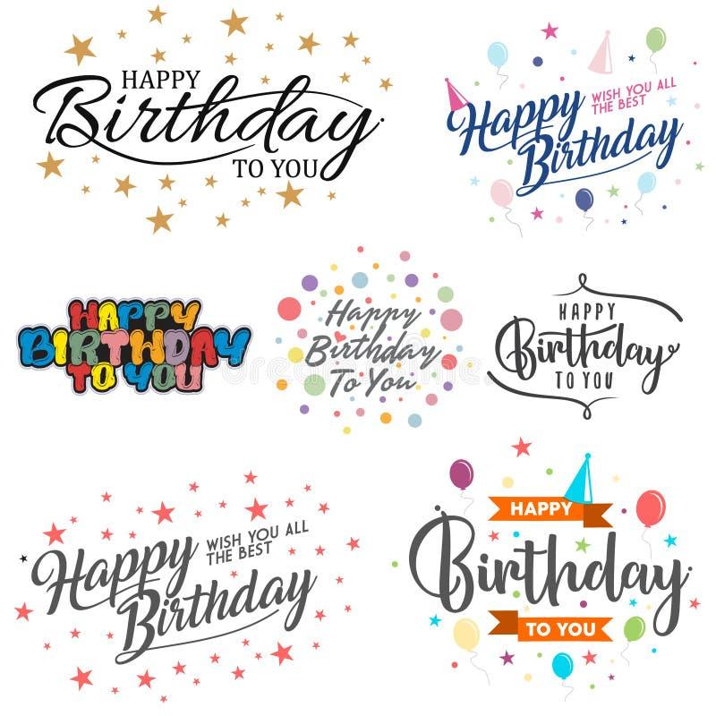 Set listowy wszystkiego najlepszego z okazji urodzin wektor dla elementu projekta na białym tle ilustracja wektor