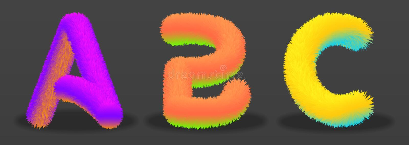 Set listy A, b, C z skutkiem futerko ilustracji