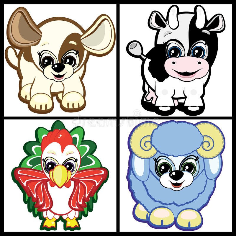 Set of Little Animals-symbols of Chinese horoscope royalty free stock photos