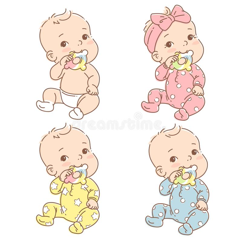 Set with little baby boy, girl in diaper or pajamas hold teething ring. Cute toddler child with toy in mouth. Color vector illustration. Baby in jumpsuit. First vector illustration