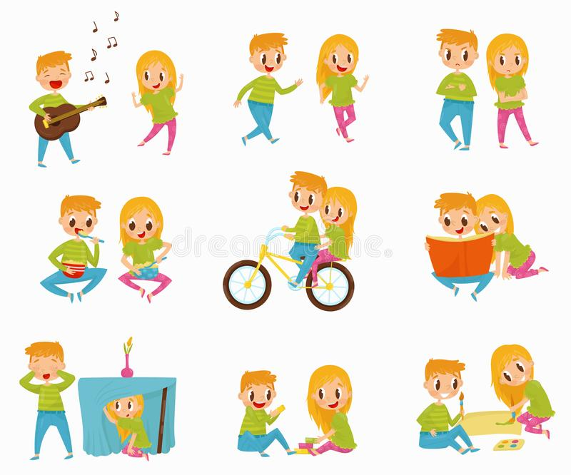 Flat vector set with little boy and girl in different actions. Riding bicycle, reading book, eating breakfast, playing vector illustration